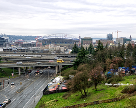 Photo of a homeless encampment in Seattle