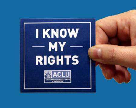 Photo of a know your rights sticker