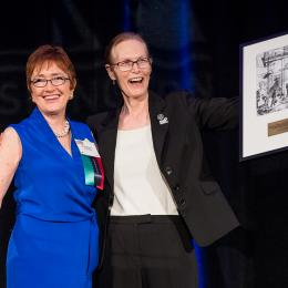 Photo of ACLU of Washington Executive Director Kathleen Taylor and Transgender and Human Rights advocate Marsha Botzer, winner of the 2016 William O. Douglas Lifetime Achievement Award