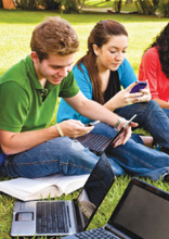 Students with cell phones