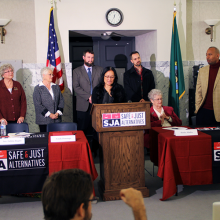 Photo of press conference of family members of murder victims against the death penalty