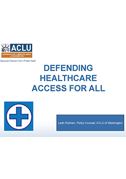 Cover of Defending Healthcare Access for All presentation
